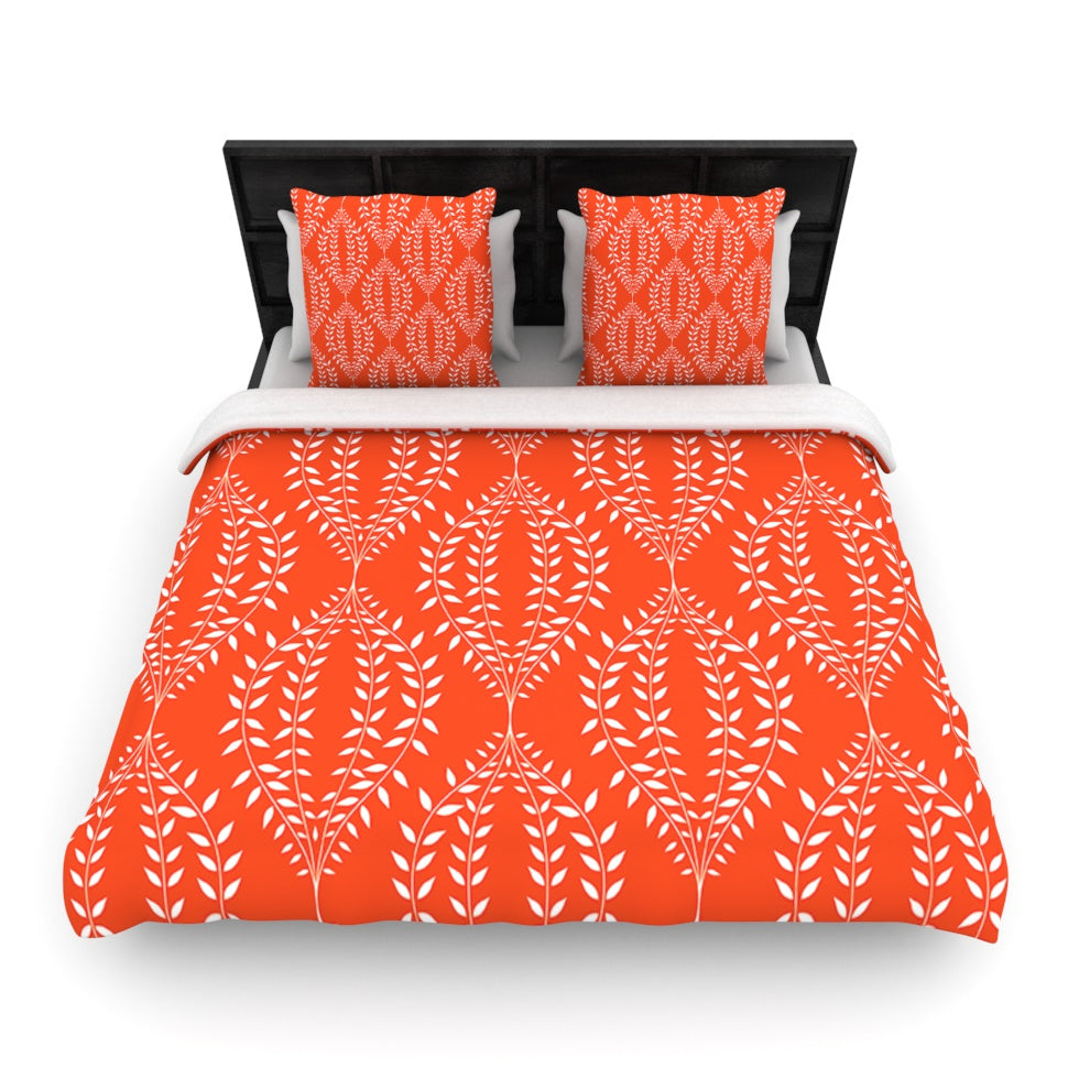 "Anneline Sophia ""Laurel Leaf Orange"" Red Floral Woven Duvet Cover - KESS InHouse  - 1"