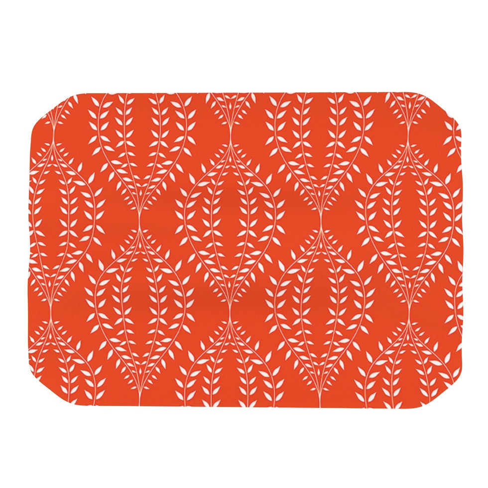 "Anneline Sophia ""Laurel Leaf Orange"" Red Floral Place Mat - KESS InHouse"