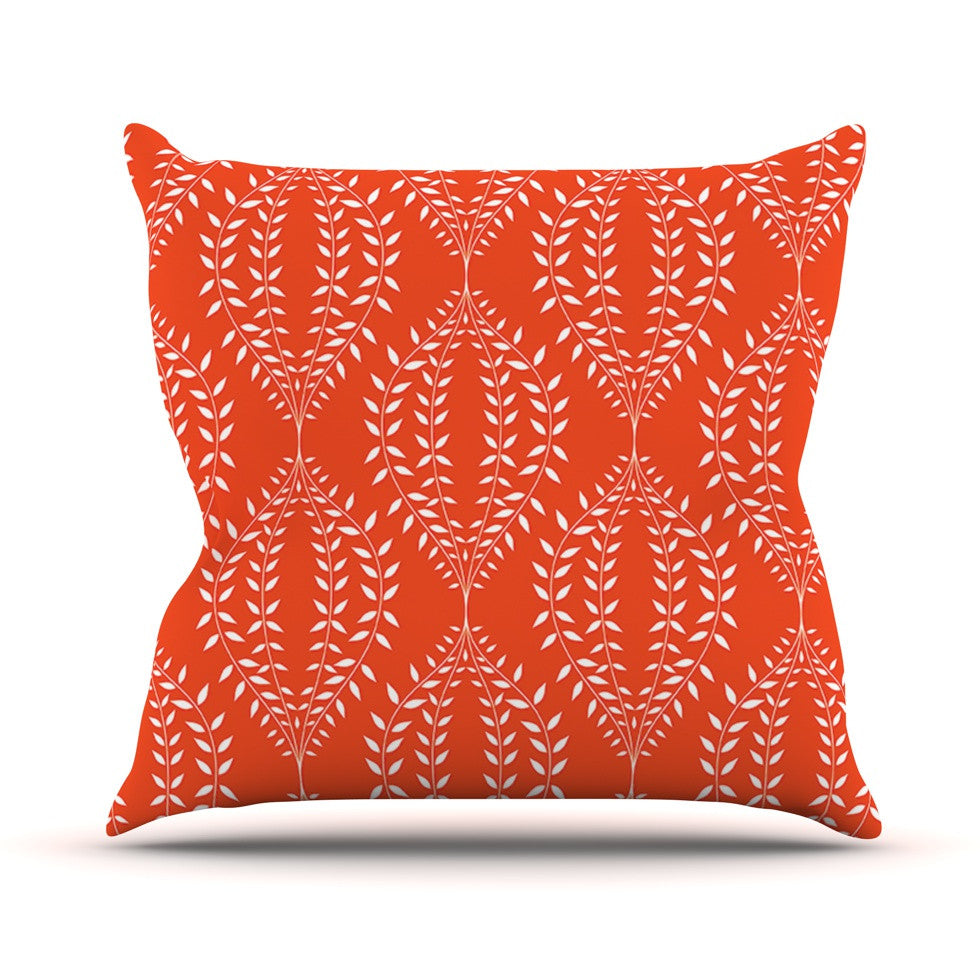 "Anneline Sophia ""Laurel Leaf Orange"" Red Floral Outdoor Throw Pillow - KESS InHouse  - 1"