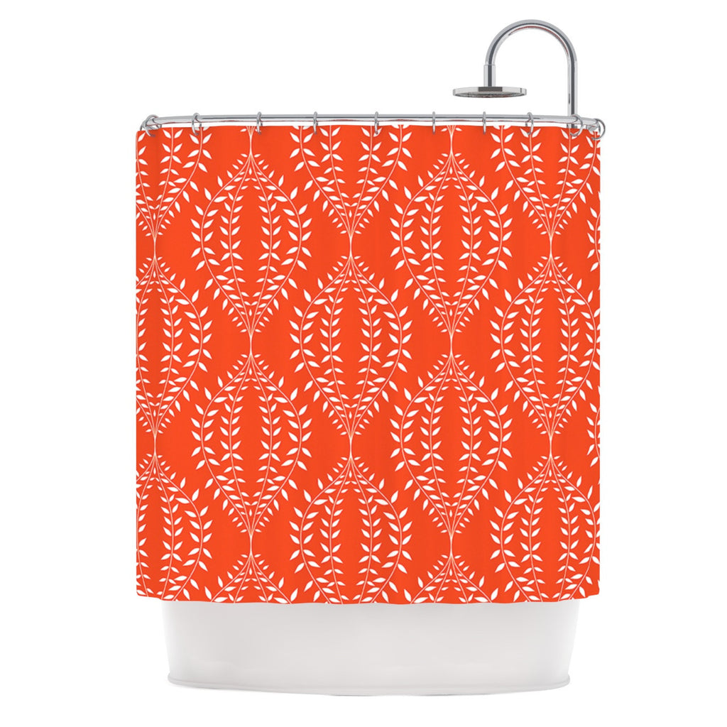 "Anneline Sophia ""Laurel Leaf Orange"" Red Floral Shower Curtain - KESS InHouse"