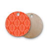 "Anneline Sophia ""Laurel Leaf Orange"" Red Floral Round Wooden Cutting Board"