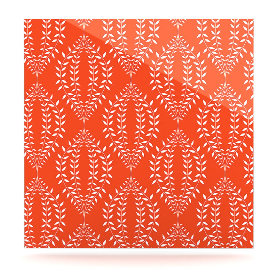 "Anneline Sophia ""Laurel Leaf Orange"" Red Floral Luxe Square Panel - KESS InHouse  - 1"