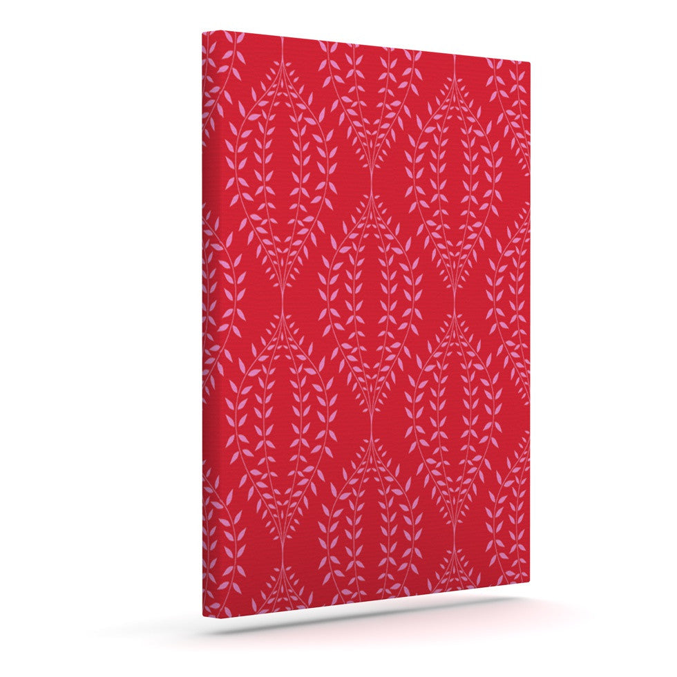 "Anneline Sophia ""Laurel Leaf Red"" Maroon Floral Outdoor Canvas Wall Art - KESS InHouse  - 1"