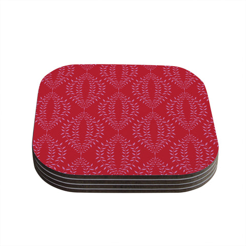 "Anneline Sophia ""Laurel Leaf Red"" Maroon Floral Coasters (Set of 4) - Outlet Item"