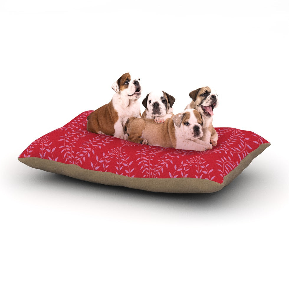 "Anneline Sophia ""Laurel Leaf Red"" Maroon Floral Dog Bed - KESS InHouse  - 1"