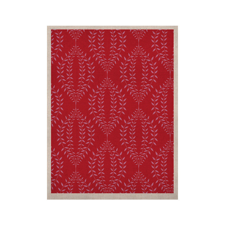 "Anneline Sophia ""Laurel Leaf Red"" Maroon Floral KESS Naturals Canvas (Frame not Included) - KESS InHouse  - 1"