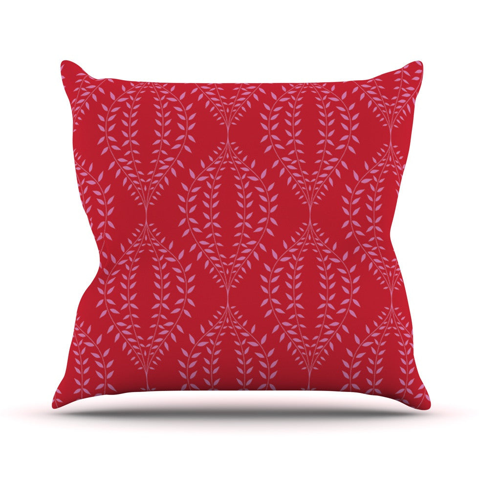 "Anneline Sophia ""Laurel Leaf Red"" Maroon Floral Throw Pillow - KESS InHouse  - 1"