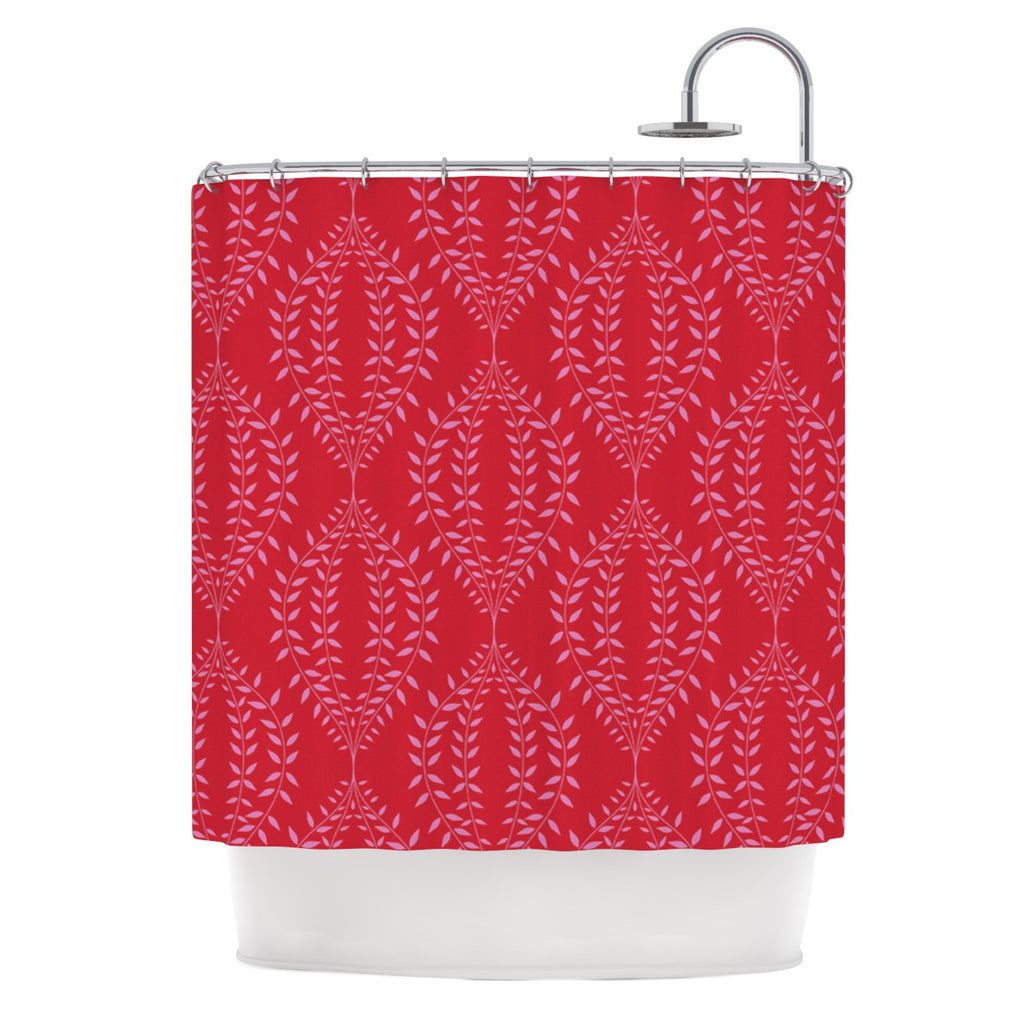 "Anneline Sophia ""Laurel Leaf Red"" Maroon Floral Shower Curtain - KESS InHouse"