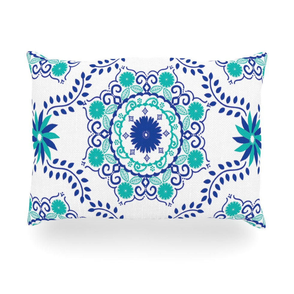 "Anneline Sophia ""Let's Dance Blue"" Teal Aqua Oblong Pillow - KESS InHouse"