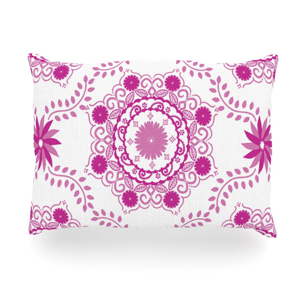"Anneline Sophia ""Let's Dance Fuschia"" Pink Floral Oblong Pillow - KESS InHouse"