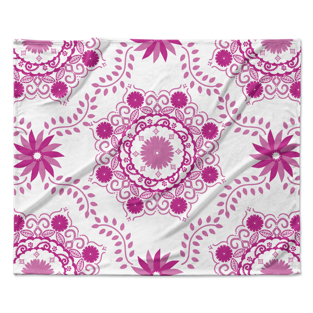 "Anneline Sophia ""Let's Dance Fuschia"" Pink Floral Fleece Throw Blanket"