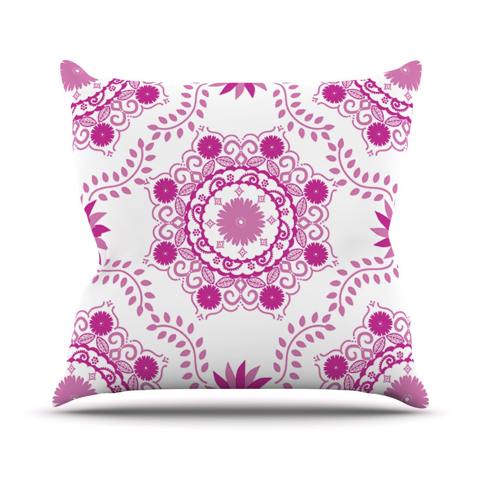 "Anneline Sophia ""Let's Dance Fuschia"" Pink Floral Outdoor Throw Pillow - KESS InHouse  - 1"