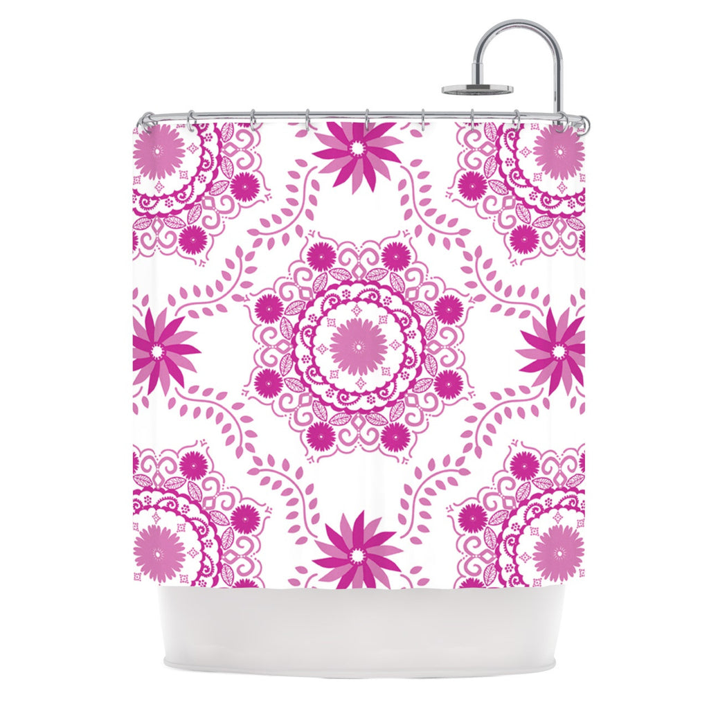 "Anneline Sophia ""Let's Dance Fuschia"" Pink Floral Shower Curtain - KESS InHouse"