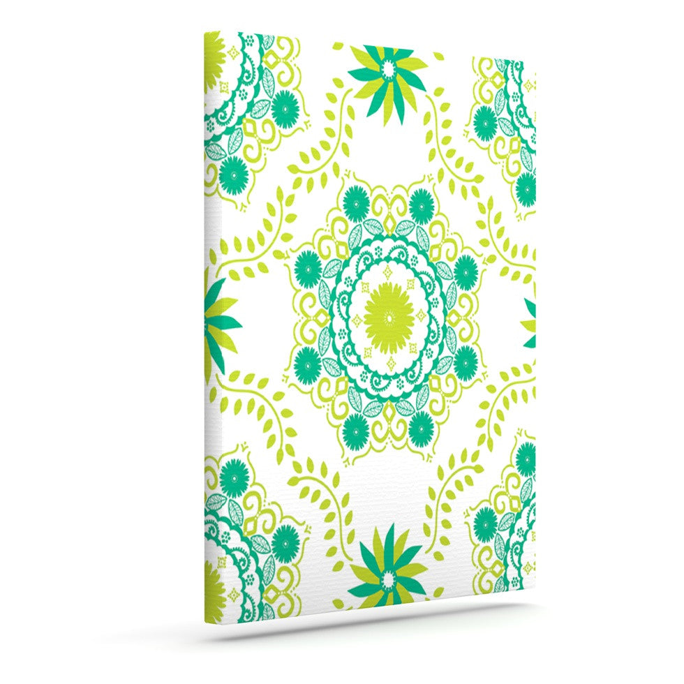 "Anneline Sophia ""Let's Dance Green"" Teal Floral Outdoor Canvas Wall Art - KESS InHouse  - 1"