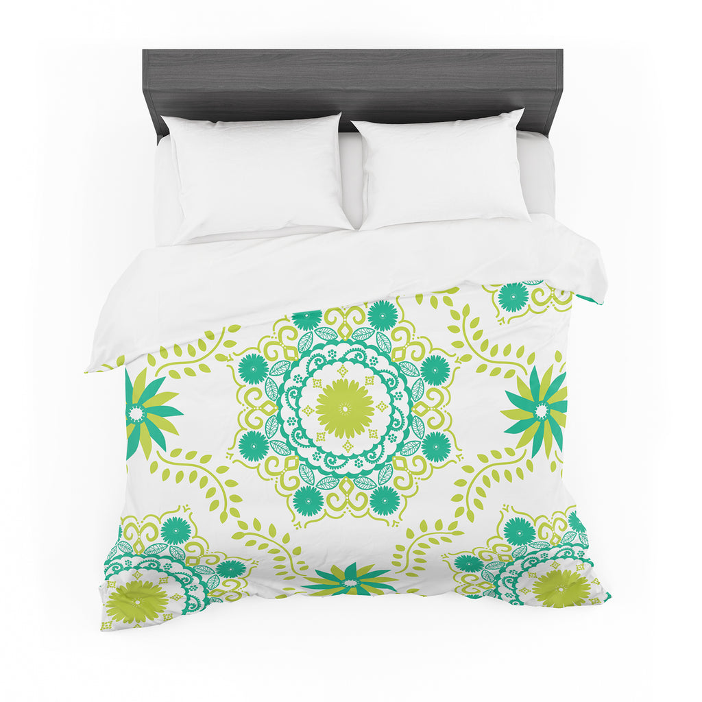"Anneline Sophia ""Let's Dance Green"" Teal Floral Featherweight Duvet Cover"