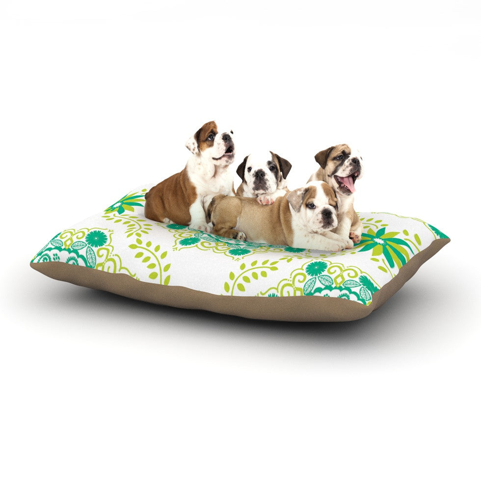 "Anneline Sophia ""Let's Dance Green"" Teal Floral Dog Bed - KESS InHouse  - 1"
