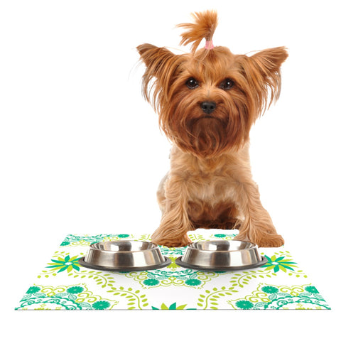 "Anneline Sophia ""Let's Dance Green"" Teal Floral Dog Place Mat - Outlet Item"