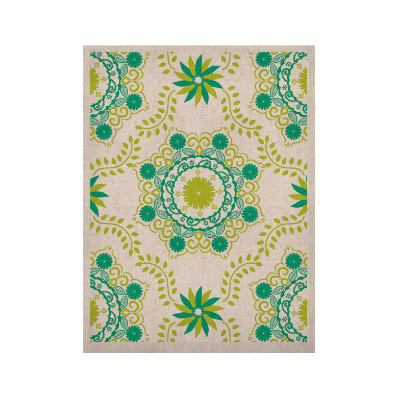 "Anneline Sophia ""Let's Dance Green"" Teal Floral KESS Naturals Canvas (Frame not Included) - KESS InHouse  - 1"