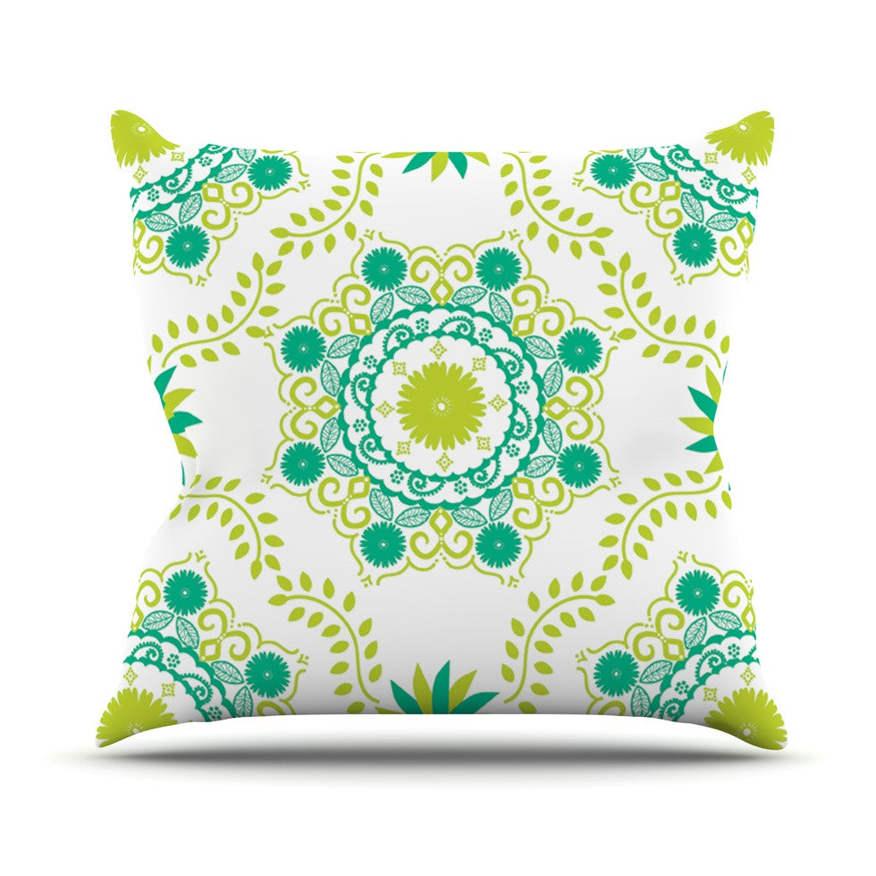 "Anneline Sophia ""Let's Dance Green"" Teal Floral Outdoor Throw Pillow - KESS InHouse  - 1"