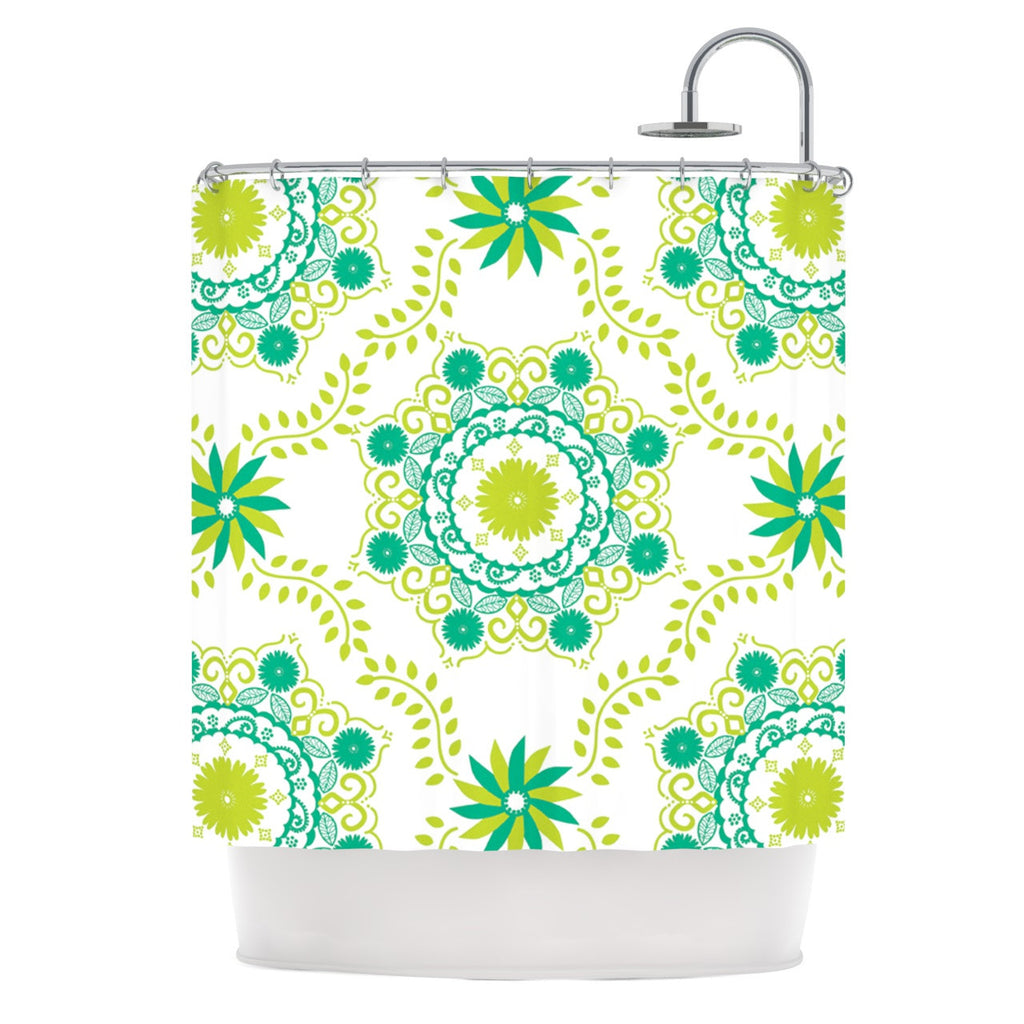 "Anneline Sophia ""Let's Dance Green"" Teal Floral Shower Curtain - KESS InHouse"