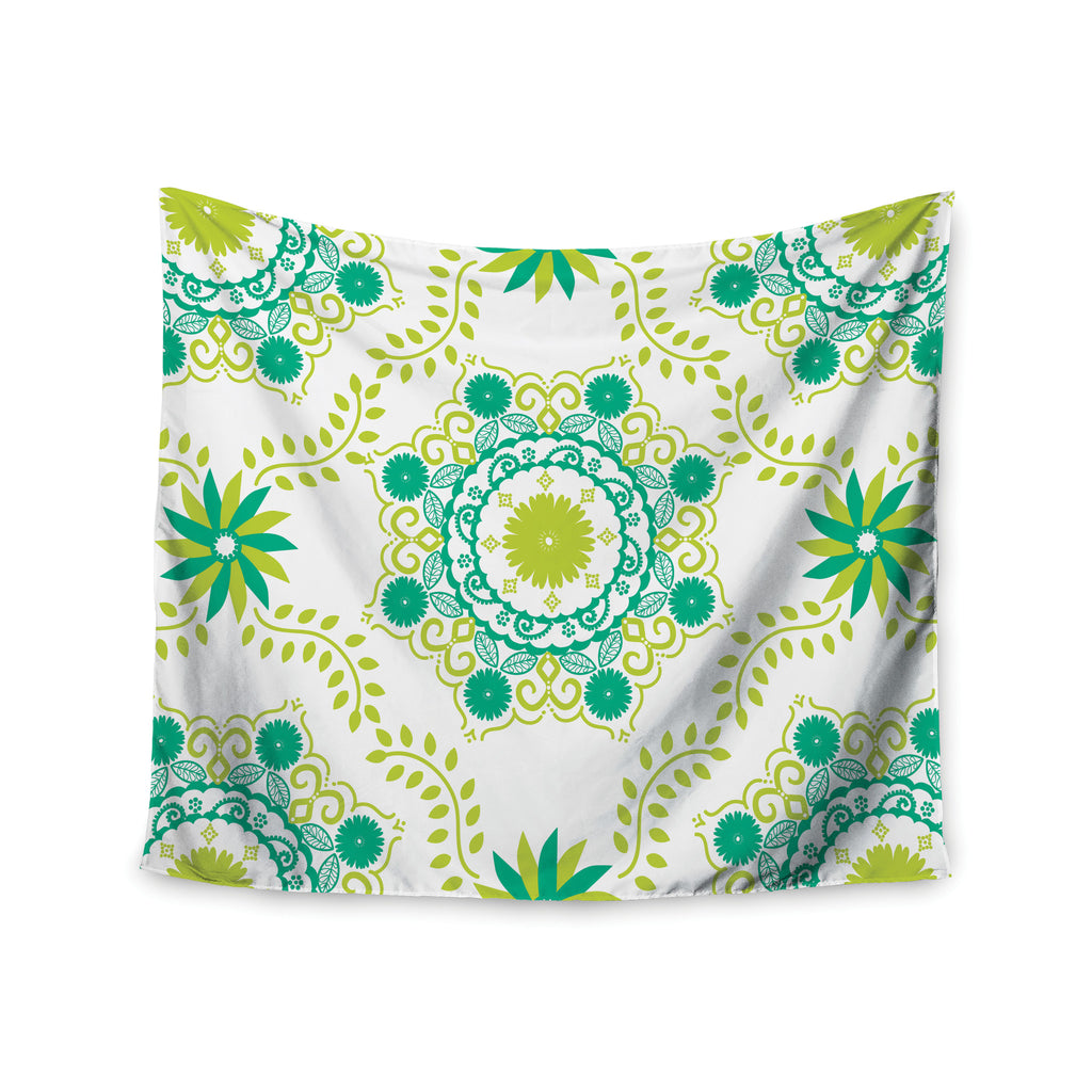 "Anneline Sophia ""Let's Dance Green"" Teal Floral Wall Tapestry - KESS InHouse  - 1"