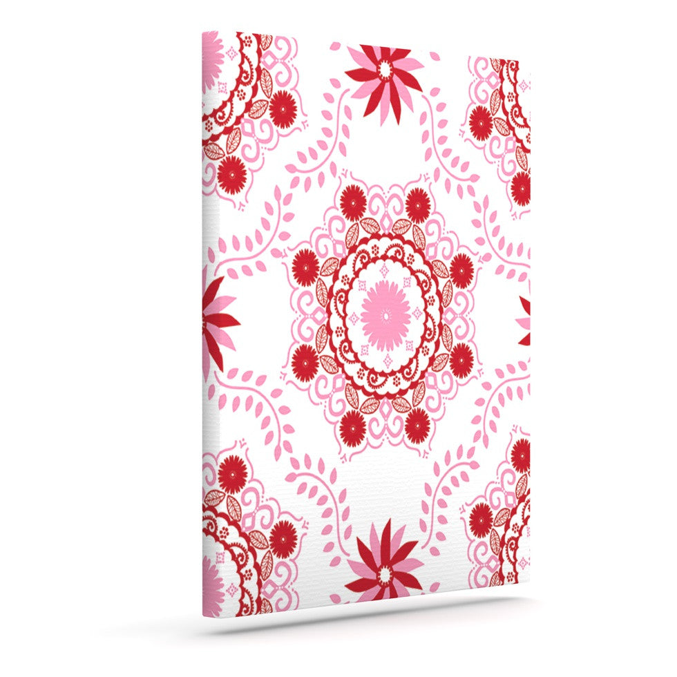 "Anneline Sophia ""Let's Dance Red"" Pink Floral Outdoor Canvas Wall Art - KESS InHouse  - 1"