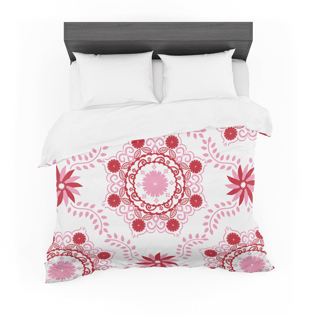 "Anneline Sophia ""Let's Dance Red"" Pink Floral Featherweight Duvet Cover"