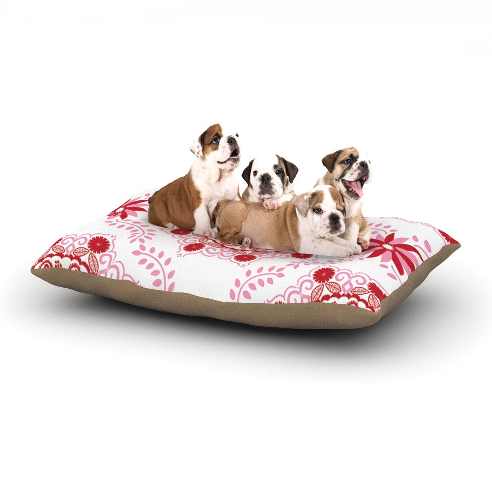 "Anneline Sophia ""Let's Dance Red"" Pink Floral Dog Bed - KESS InHouse  - 1"