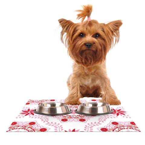 "Anneline Sophia ""Let's Dance Red"" Pink Floral Dog Place Mat - Outlet Item"