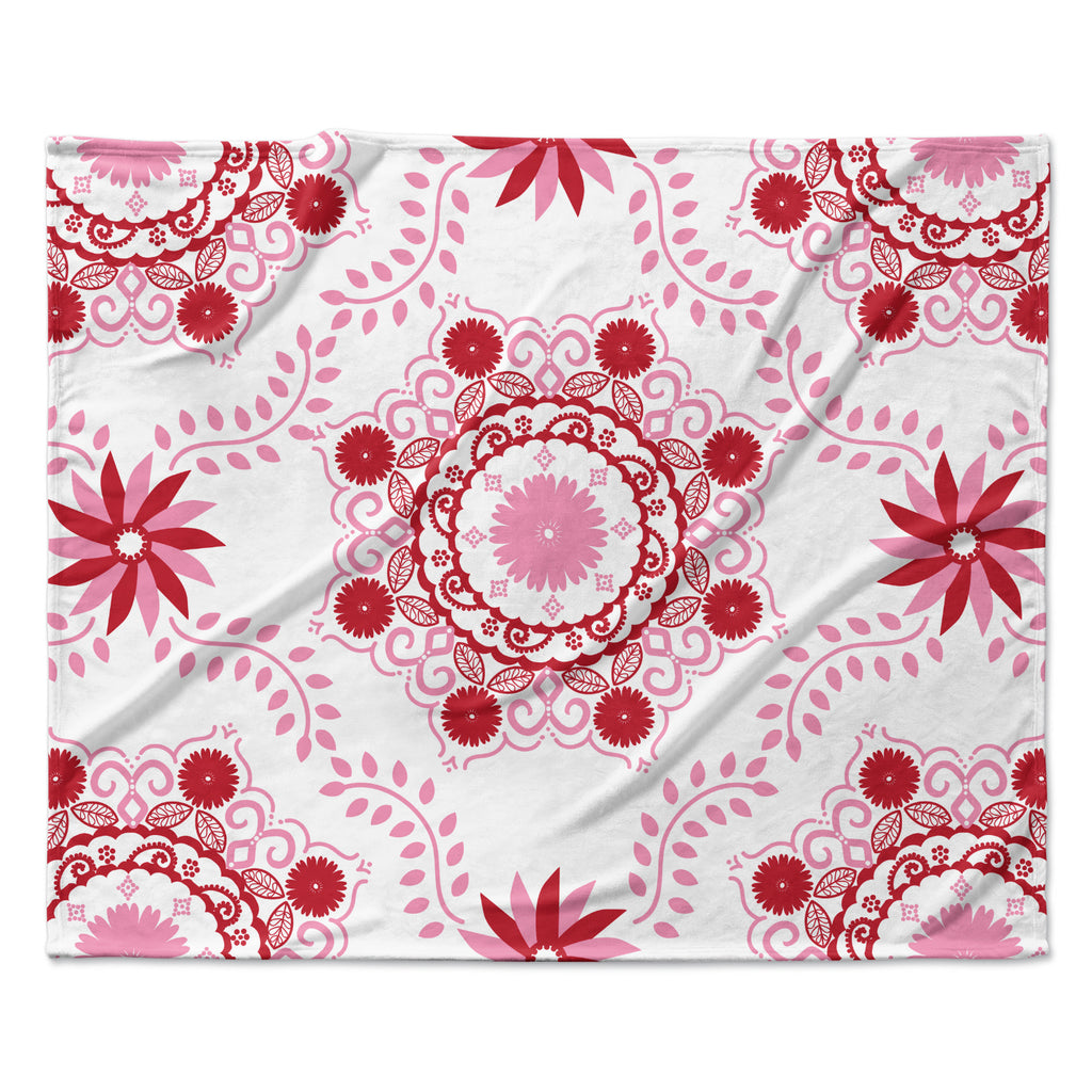 "Anneline Sophia ""Let's Dance Red"" Pink Floral Fleece Throw Blanket"