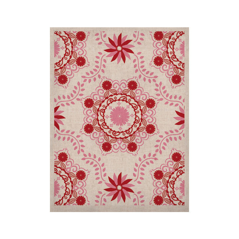 "Anneline Sophia ""Let's Dance Red"" Pink Floral KESS Naturals Canvas (Frame not Included) - KESS InHouse  - 1"
