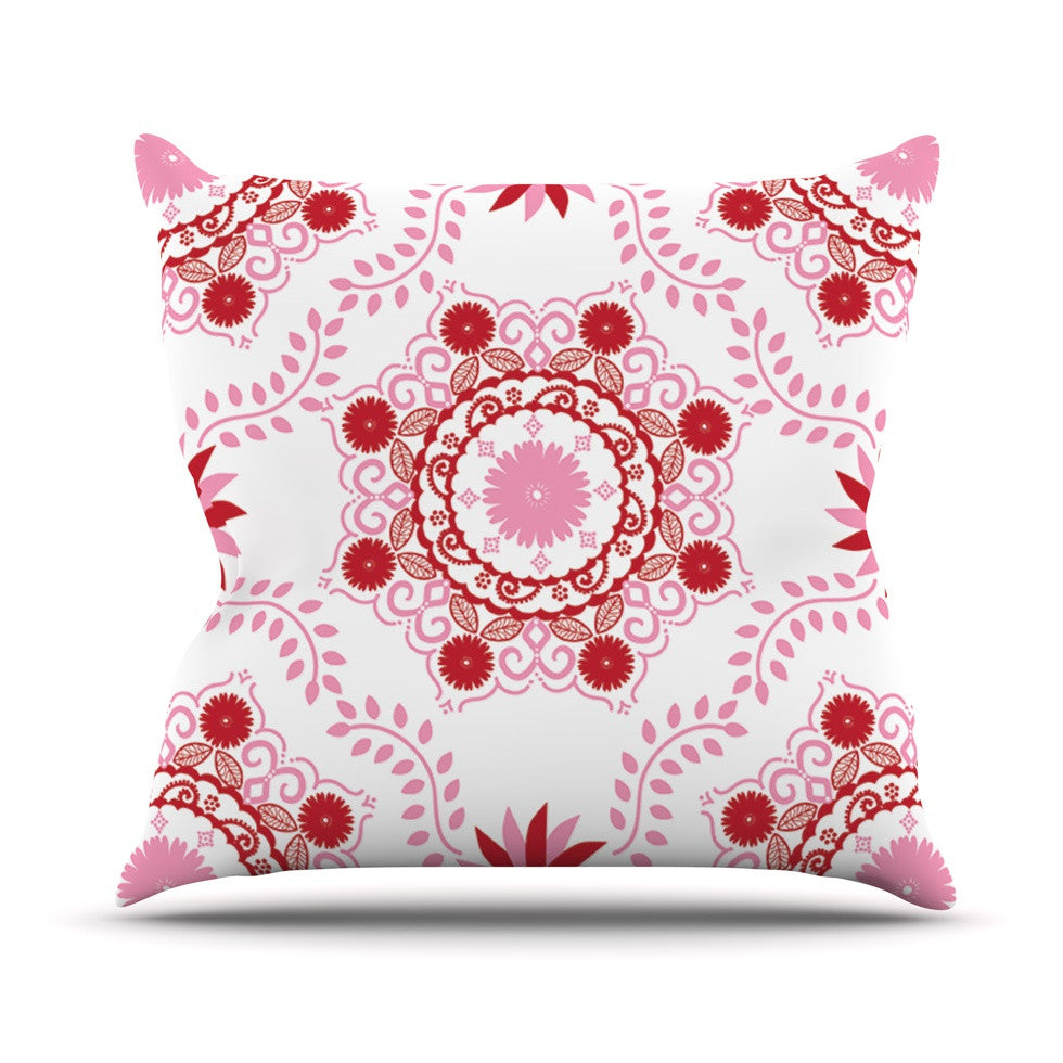 "Anneline Sophia ""Let's Dance Red"" Pink Floral Outdoor Throw Pillow - KESS InHouse  - 1"