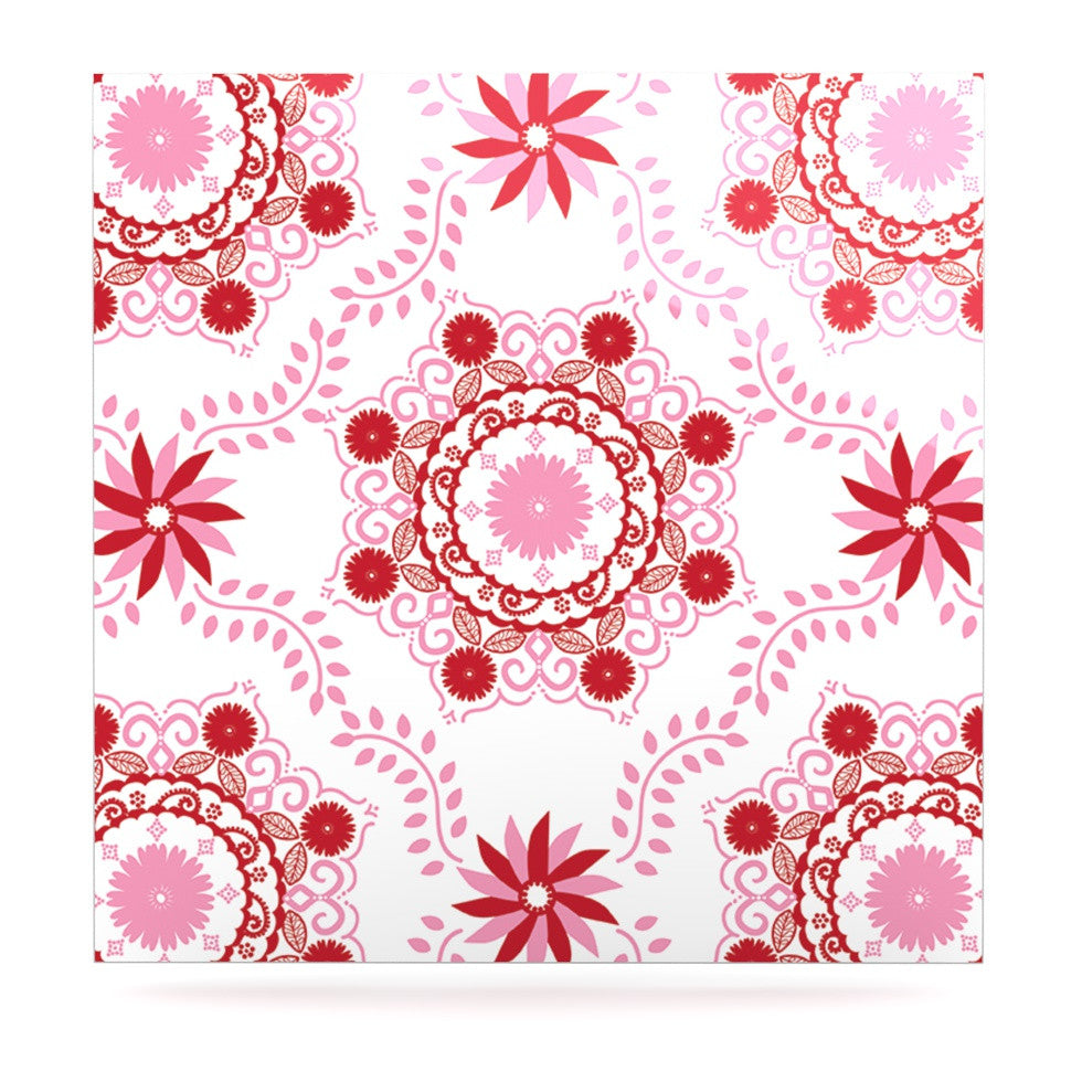 "Anneline Sophia ""Let's Dance Red"" Pink Floral Luxe Square Panel - KESS InHouse  - 1"