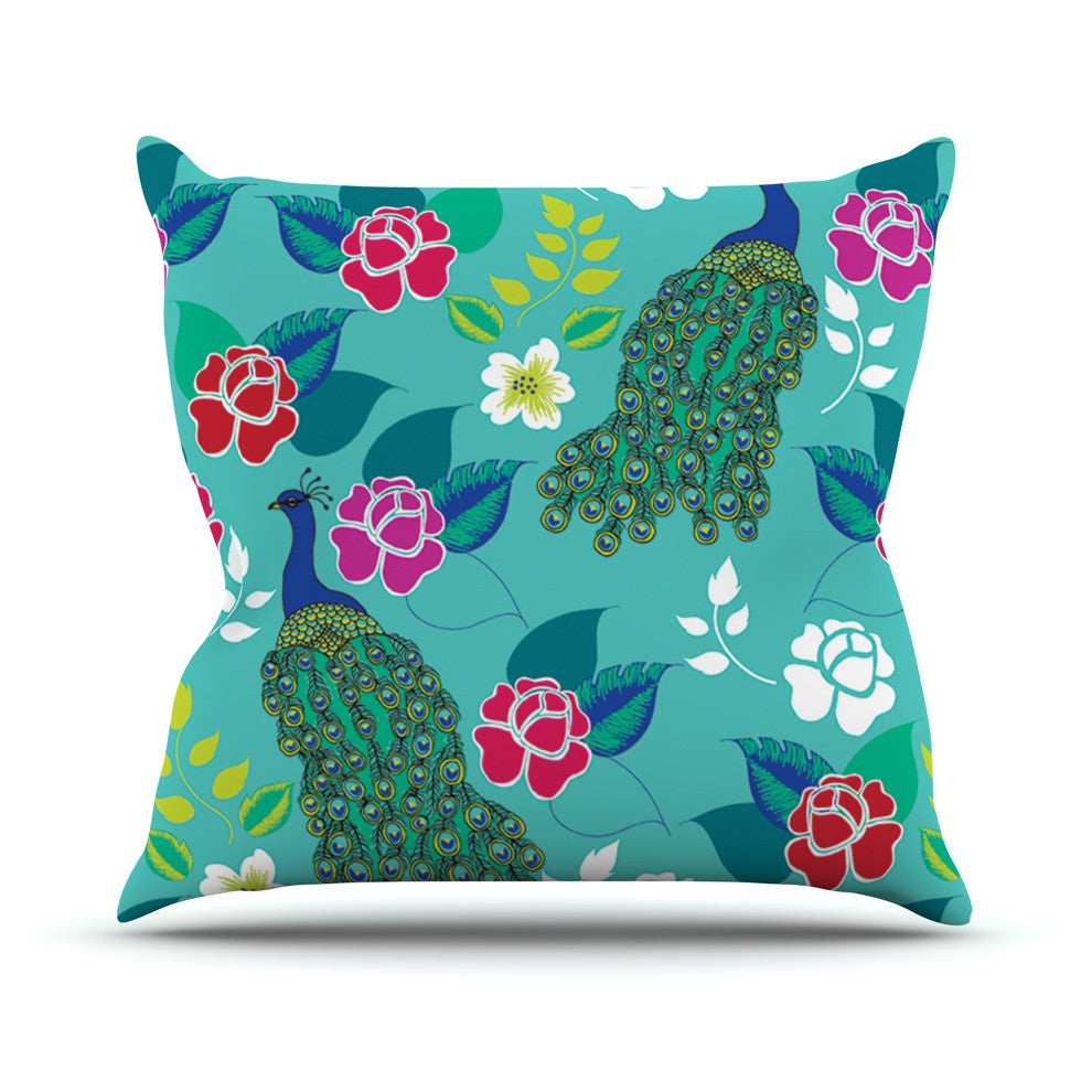 "Anneline Sophia ""Mexican Peacock"" Teal Rainbow Throw Pillow - KESS InHouse  - 1"
