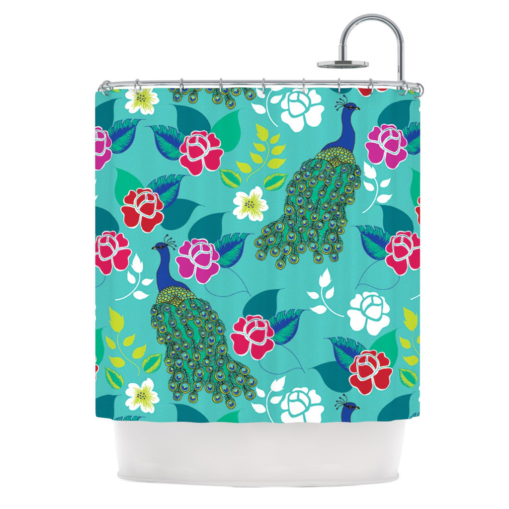 "Anneline Sophia ""Mexican Peacock"" Teal Rainbow Shower Curtain - KESS InHouse"