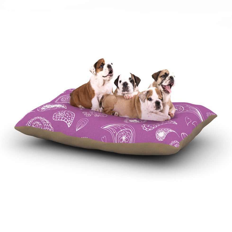"Anneline Sophia ""Tropical Paisley"" Purple White Dog Bed - KESS InHouse  - 1"