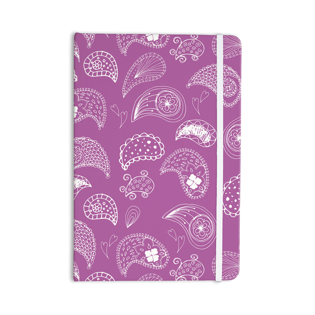 "Anneline Sophia ""Tropical Paisley"" Purple White Everything Notebook - KESS InHouse  - 1"