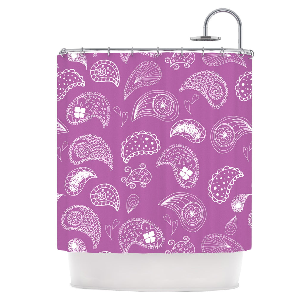 "Anneline Sophia ""Tropical Paisley"" Purple White Shower Curtain - KESS InHouse"