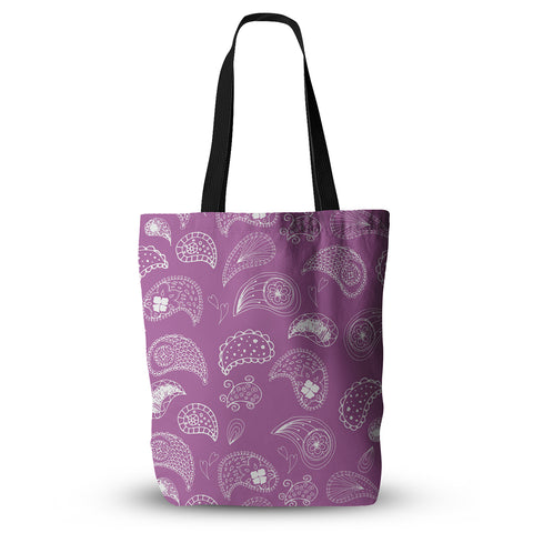 "Anneline Sophia ""Tropical Paisley"" Purple White Everything Tote Bag - KESS InHouse  - 1"