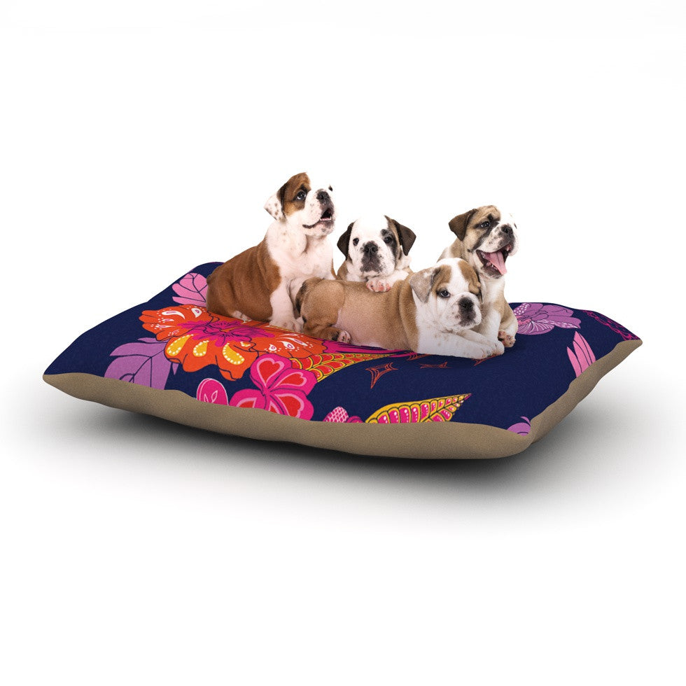 "Anneline Sophia ""Tropical Paradise"" Purple Floral Dog Bed - KESS InHouse  - 1"