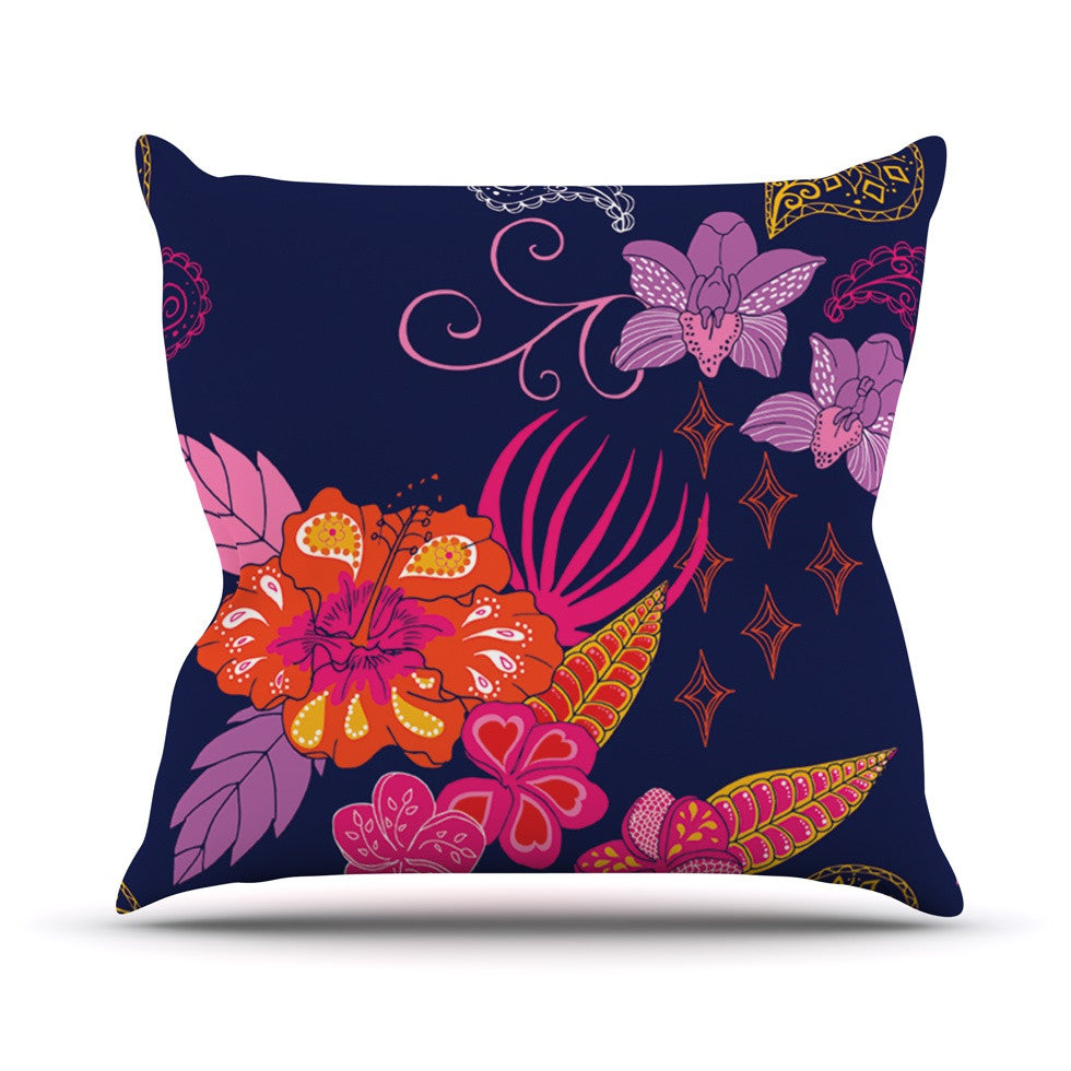 "Anneline Sophia ""Tropical Paradise"" Purple Floral Throw Pillow - KESS InHouse  - 1"