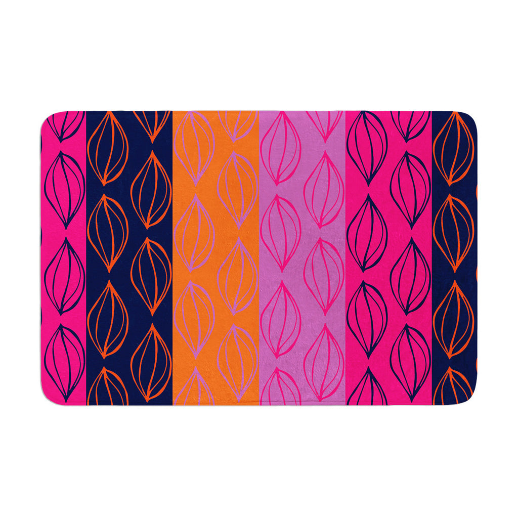 "Anneline Sophia ""Tropical Seeds"" Pink Orange Memory Foam Bath Mat - KESS InHouse"
