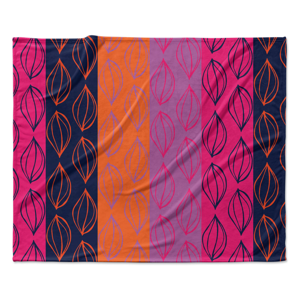 "Anneline Sophia ""Tropical Seeds"" Pink Orange Fleece Throw Blanket"
