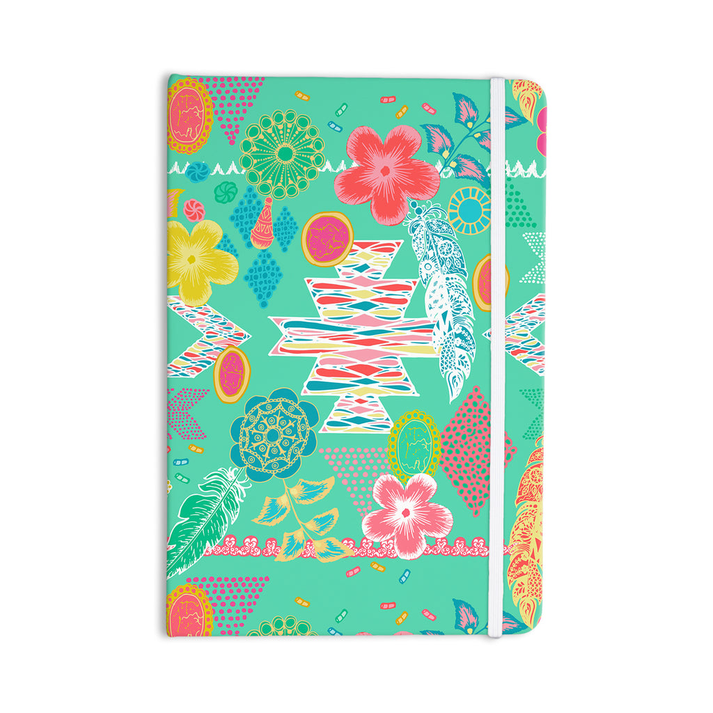 "Anneline Sophia ""Aztec Boho Emerald"" Teal Rainbow Everything Notebook - KESS InHouse  - 1"