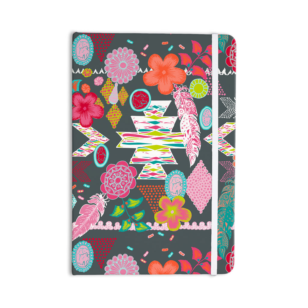 "Anneline Sophia ""Aztec Boho Tropical"" Gray Rainbow Everything Notebook - KESS InHouse  - 1"