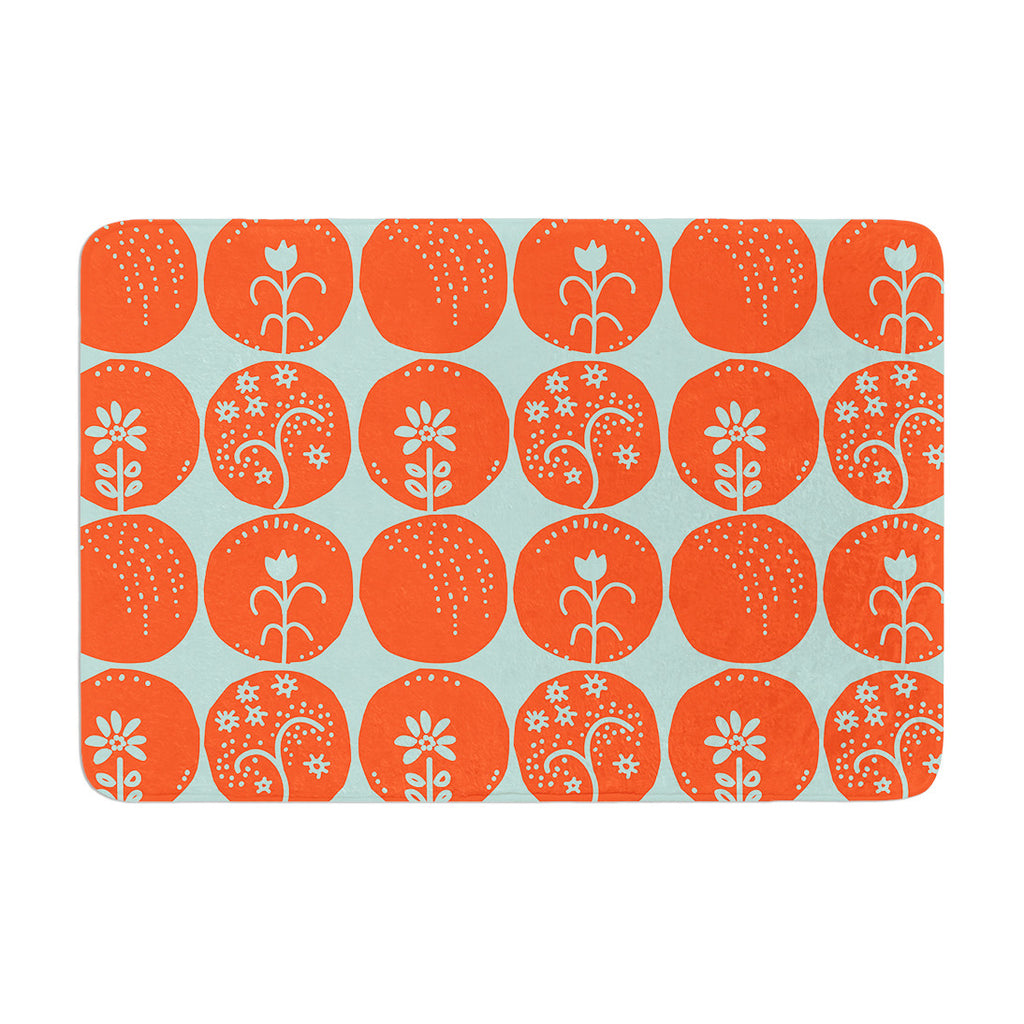 "Anneline Sophia ""Dotty Papercut Orange"" Circles Teal Memory Foam Bath Mat - KESS InHouse"