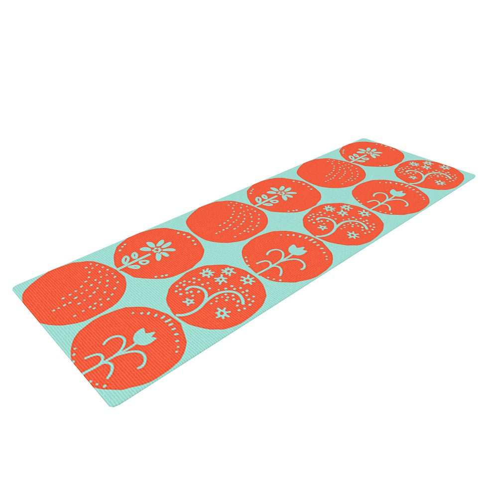 "Anneline Sophia ""Dotty Papercut Orange"" Circles Teal Yoga Mat - KESS InHouse  - 1"