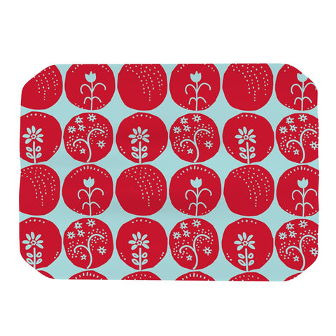 "Anneline Sophia ""Dotty Papercut Red"" Circles Blue Place Mat - KESS InHouse"