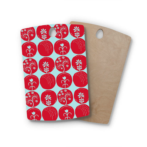 "Anneline Sophia ""Dotty Papercut Red"" Circles Blue Rectangle Wooden Cutting Board"