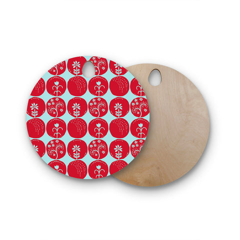 "Anneline Sophia ""Dotty Papercut Red"" Circles Blue Round Wooden Cutting Board"